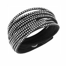 Glamorous Black Snake White Crystals Bangle Bracelet