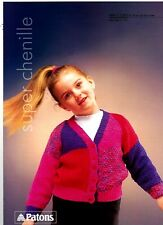 Patons Super Chenille KNITTING PATTERN, Girls CARDIGAN