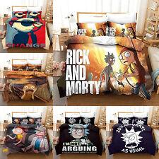 ROCK AND MORTY Bedding Set 3PCS Duvet Cover Pillowcase UK Single Double King