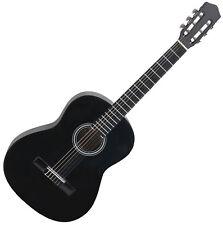 Classical Acoustic Guitar Nylon Strings Size 3/4 Rosewood Fingerboard Black