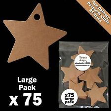 75 x Blank Buff/Manilla/Kraft/Brown Mini Star Tags Label/Gift Tag Pack