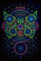 Psychedelic Tapestry Banner UV Fluorescent Trippy Mushroom Deco Hippie Rave
