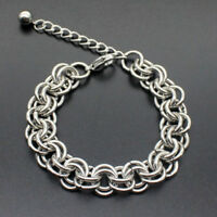 Men Stainless Steel Figaro Curb Link Chain Wristband Clasp Cuff Bracelet Bangle