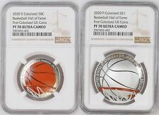 2020 50c & $1 COLORIZED BASKETBALL HALL OF FAME NGC PF70 / MS70 - BROWN LABELS