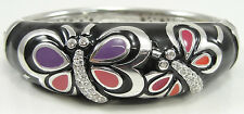 Sterling Silver Butterfly Bangle Bracelet CZ Multicolor Enamel Hinged 6.50""