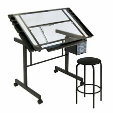 Studio Designs Vision 2 Piece Glass Craft Center Drafting Drawing Table,  Black