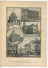 ANTIQUE SAN FRANCISCO CA HALL OF RECORDS BANK BALDWIN HOTEL LOTTA FOUNTAIN PRINT