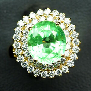 EMERALD GREEN OVAL 4.70 CT. SAPPHIRE 925 STERLING SILVER GOLD RING SZ 6.5 WOMEN