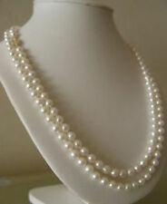 """double strands AAA9-10mm south sea round white pearl necklace 17""""19"""""""