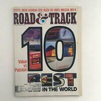 Road & Track Magazine December 1987 Honda CRX, Audi 90 4WD & Mazda MX-6, VG
