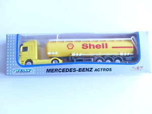 WELLY CAMION MERCEDES BENZ ACTROS AVEC REMORQUE CITERNE SHELL  1/87 EME