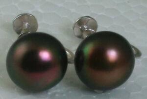 Solid Sterling Silver 11mm Black FIRE Pearl Adjustable Screw Clip On Earrings