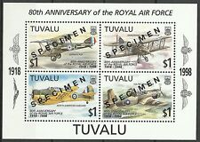 Tuvalu Avions Royal Air Force Aircrafts Flugzeuge ** 1998 Surch Specimen Muster
