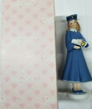 Enesco Growing Up Girls 1991 Graduation Brunette Hair Porcelain Figurinewith box