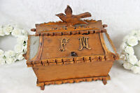Antique French art nouveau 1900 Wood carved Wedding box Gift initials F M bird