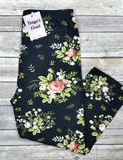 Elegant Floral CAPRI Leggings Rose Flowers Printed Black Green Pink ONE SIZE OS