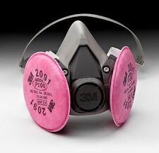 3M 6200 Half Mask Respirator W/ 3M 2091 P100 Filter Cartridge Medium *Free Ship*