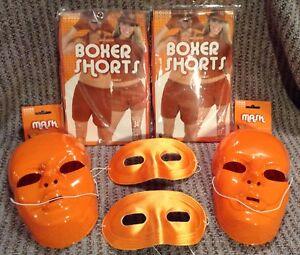 Adult Orange Lot School Team Halloween Face Mask Boxer Shorts Costume Accessory