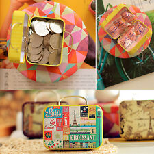 Vintage Rectangular Iron Tin Small Jewelry Box Storage Bag Card Case Decor~