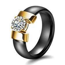 Fashion Women Stainless Steel Titanium Band Ring Wedding Engagement Size 6-10