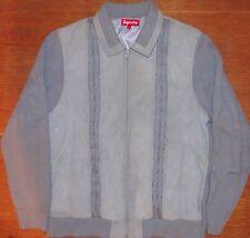 SUPREME Suede Front Zip Cardigan/Veste. gris/bleu. XL. RARE.