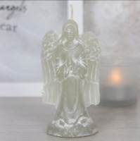 Handmade Grey Angel Candle - with White Shading (10 x 4.5 x 5.5cm)