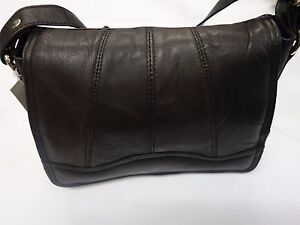 Soft Leather Shoulder Bag Small Cross Body Black with Many Features