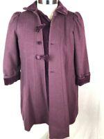Rothschild Purple Wool Coat Sz 12 Black Velvet Trim Dress Coat Church Jacket R1