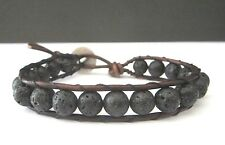 Handcrafted Gift Mens Lava Rock Surf  Brown / Black Leather Bracelet w/ Indian