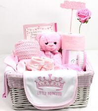 New Elegant Large Baby Basket Hamper Girl Baby Shower New Baby Gift Nappy Pink
