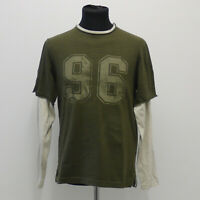 Next Size S Small Mens Green/Cream Long Sleeve T Shirt Mock Double Layer