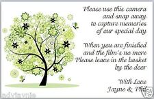 10 Wedding Camera Poems Cards  - Green Floral Tree