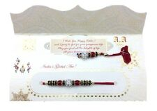 Simple Red and Diamante Beading - Lumba Rakhi/Bhai & Bhabhi Rakhi/Rakshabandhan