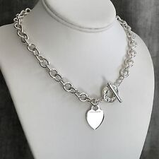 Tiffany & Co Sterling Silver Toggle Heart Tag Engravable Blank Heart Necklace