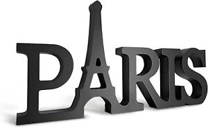 Paris Decor for Bedroom Word Sign in Black Parisian Themed Eiffel Tower NEW
