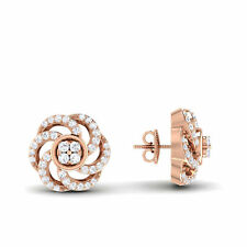 Pave 0.55 Cts Natural Diamonds Stud Earrings In Solid Certified 14K Rose Gold