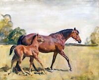 1930- Sir Alfred Munnings, Broodmare & Foal, Horse & Colt, Antique decor, ART