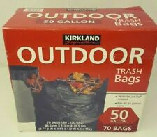 Kirkland Signature Outdoor Trash Bags - 50 Gallon 70 Bags - OPEN BOX NEW