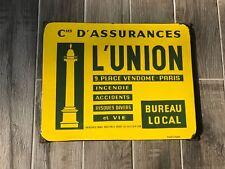 Plaque émaillée Cie Assurance de l'union - Place Vendôme Emaillerie Alsacienne