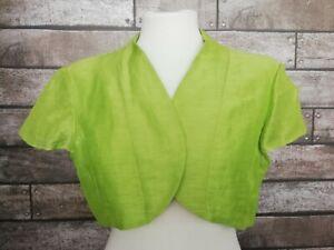Minuet Petite Size 18 Silk Linen Green Bolero Jacket Wedding Christening Special