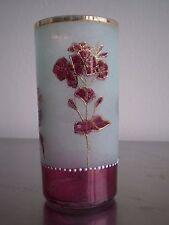 GRAND VERRE CRISTAL EMAILLE ANCIEN DECOR FLEUR 1900 GLASS LIBERTY ART TABLE