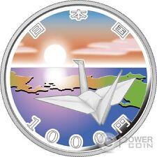 ORIGAMI CRANE EARTHQUAKE RECONSTRUCTION Silver Proof Coin 1000 Yen Japan 2015