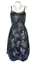 "CITY CHIC ""Mono Garden"" Dress- Black White Floral Vintage Strapless Pleated M/18"