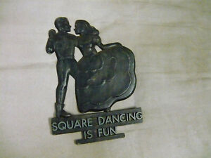 Vintage Black Alloy W&W Square Dancing Is Fun Metal Plaque Vintage Wall Hanging