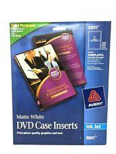 Avery Dvd Case Inserts Matte White 20 Inserts 8891 New