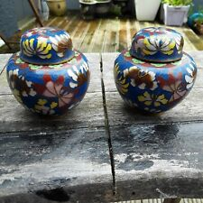 VINTAGE SMALL PAIR OF CLOISONNE VASES/URNS WITH BUTTERFLIES AND FLOWERS