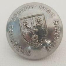 Cheshire county fire brigade 24mm button Chrome 1950s obsolete