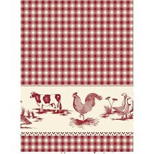 Red Check Farmyard Vinyl Oil Cloth