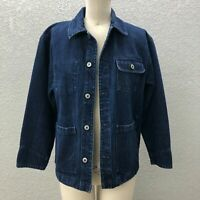 VTG Gap Denim Jacket Women's L Blue Button Down Long Sleeve Pockets Collared