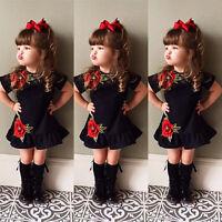 US Toddler Kids Baby Girls Flower Summer Party Dress Sundress Clothes 0-4T Mon